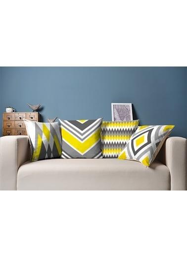 Tezkotekstil Sarı Gri 4'Lü Kombin Dekoratif Yastık Kırlent Kılıfı Renkli